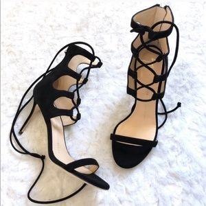 525739987 NEW Giuseppe Zanotti Suede Lace Up Black Heels